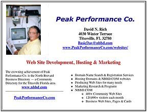 Peak Performance Co. web card on NBBD.COM